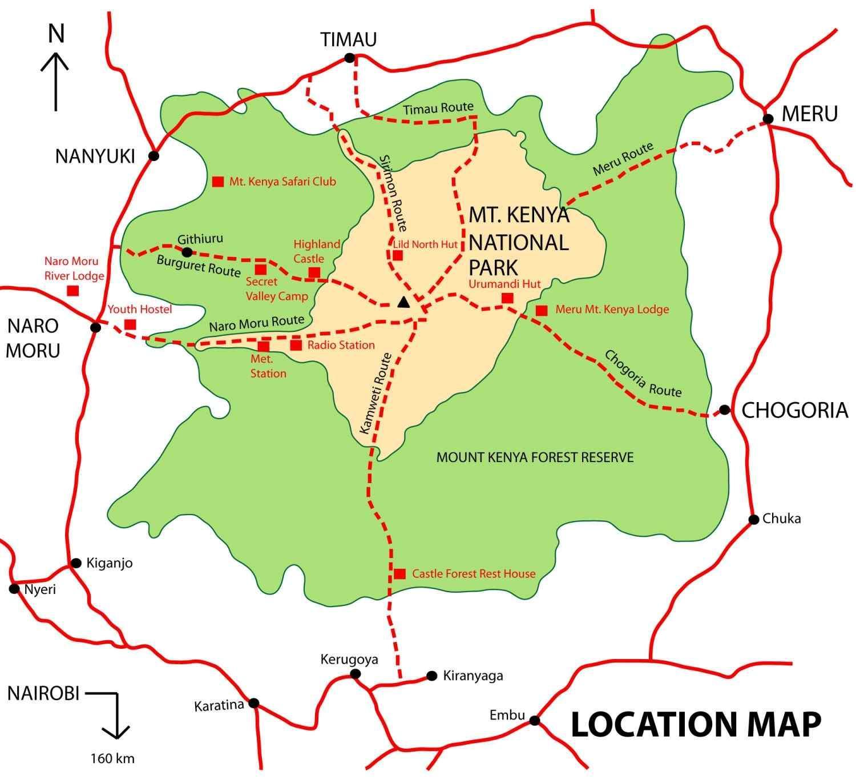 Mount Kenia Karte.Mount Kenya Map Karte Des Mount Kenia Ost Afrika Afrika