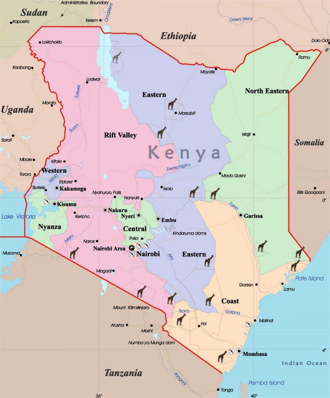 Karte Anzeigen.Kenia Karte Eine Karte Von Kenia Ost Afrika Afrika