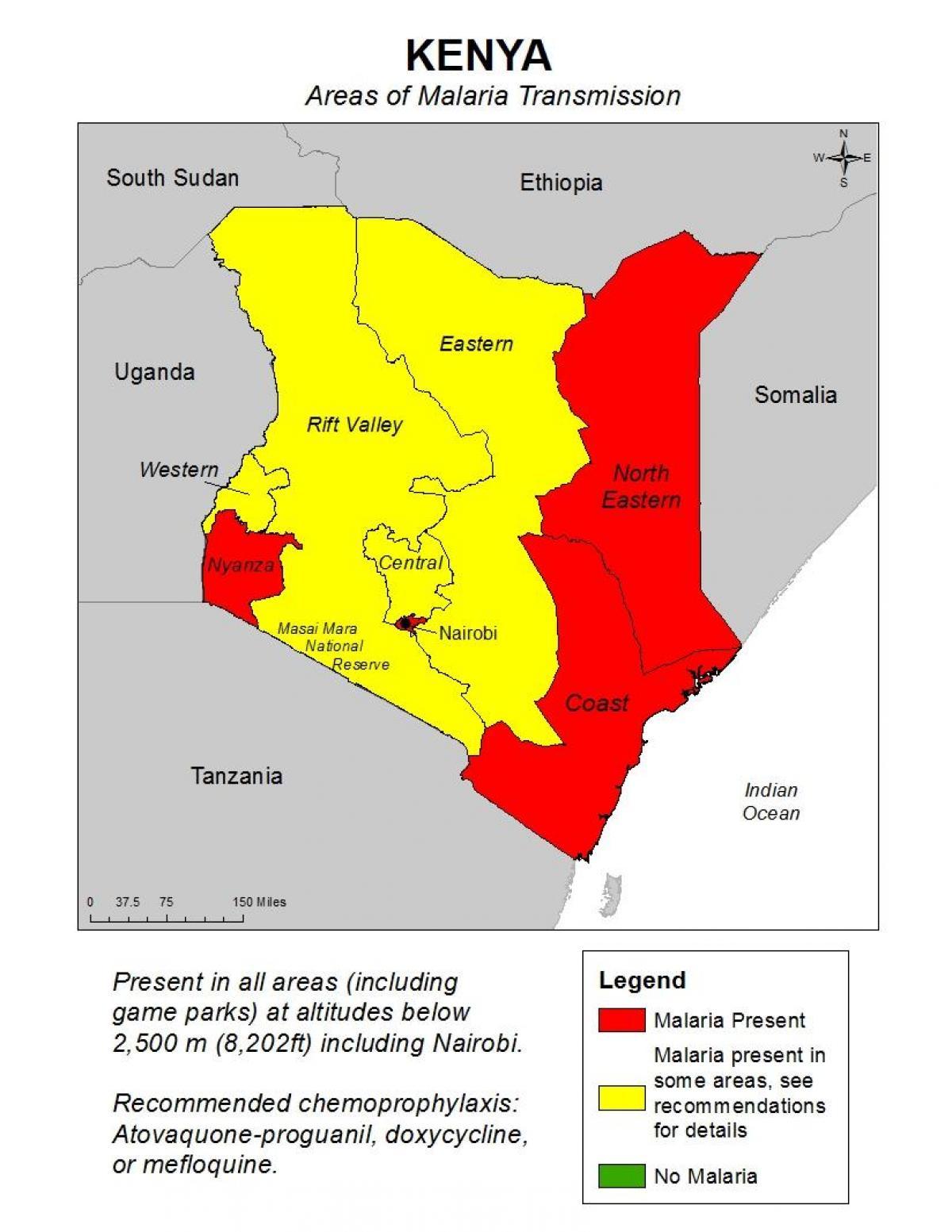Malaria Kenia Karte.Kenia Malaria Map Karte Von Kenia Malaria Ost Afrika