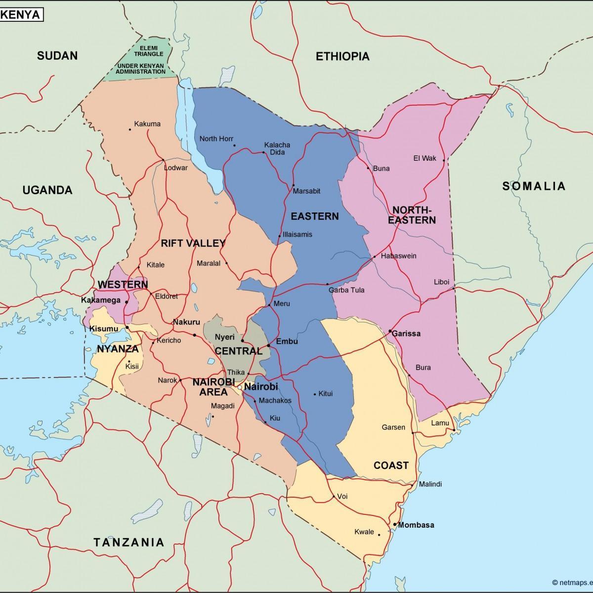 Malaria Kenia Karte.Politische Karte Von Kenia Karte Politische Karte Von